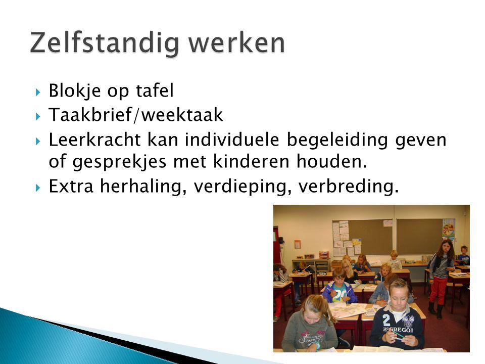  Blokje op tafel  Taakbrief/weektaak  Leerkracht kan individuele begeleiding geven of gesprekjes met kinderen houden.  Extra herhaling, verdieping
