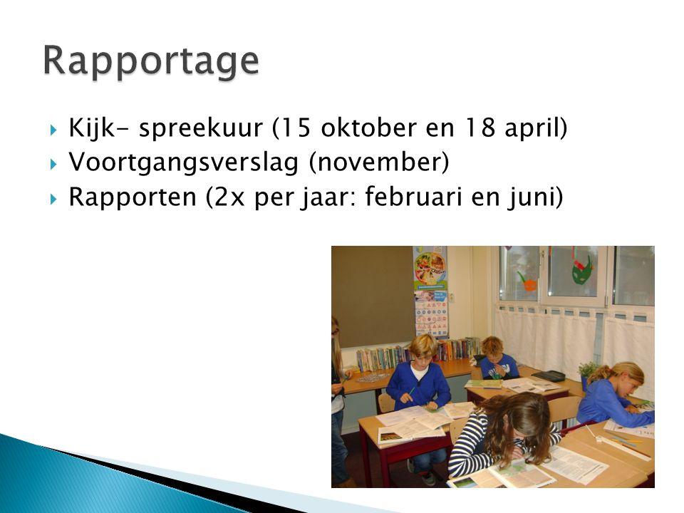  Kijk- spreekuur (15 oktober en 18 april)  Voortgangsverslag (november)  Rapporten (2x per jaar: februari en juni)