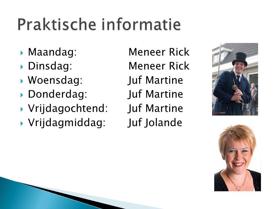  Maandag:Meneer Rick  Dinsdag: Meneer Rick  Woensdag: Juf Martine  Donderdag:Juf Martine  Vrijdagochtend: Juf Martine  Vrijdagmiddag: Juf Joland