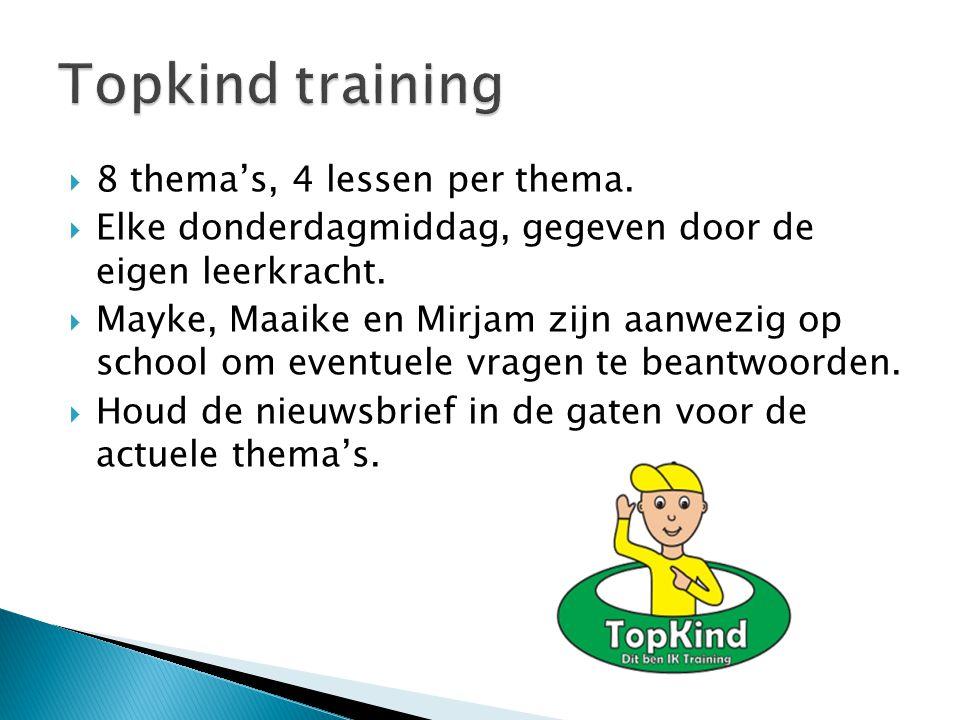  8 thema's, 4 lessen per thema.  Elke donderdagmiddag, gegeven door de eigen leerkracht.  Mayke, Maaike en Mirjam zijn aanwezig op school om eventu