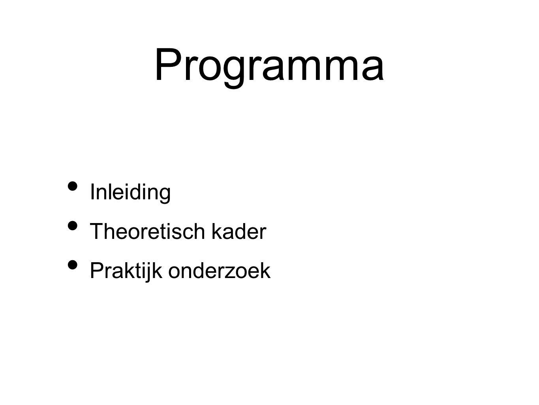 Programma Inleiding Theoretisch kader Praktijk onderzoek