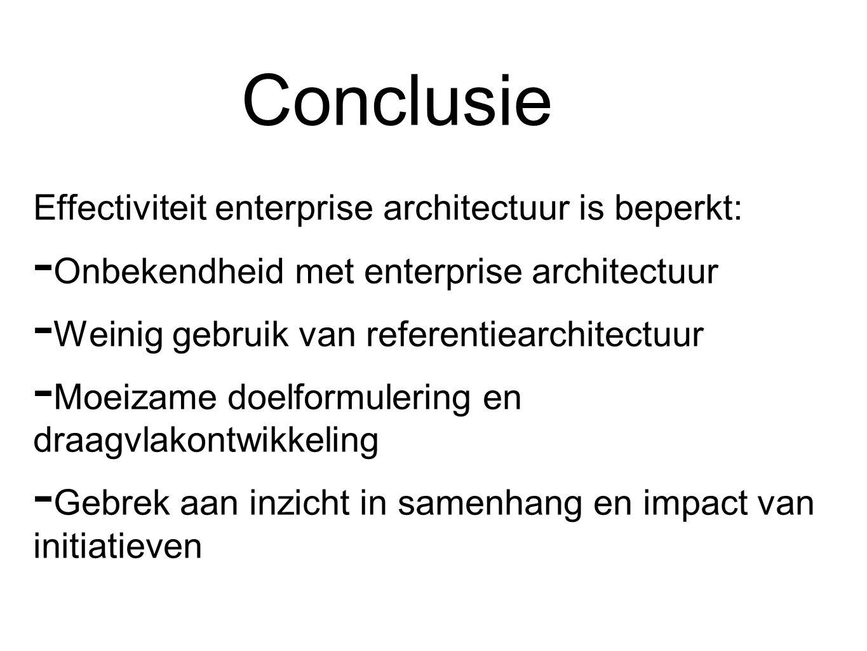 Conclusie Effectiviteit enterprise architectuur is beperkt:  Onbekendheid met enterprise architectuur  Weinig gebruik van referentiearchitectuur  Moeizame doelformulering en draagvlakontwikkeling  Gebrek aan inzicht in samenhang en impact van initiatieven