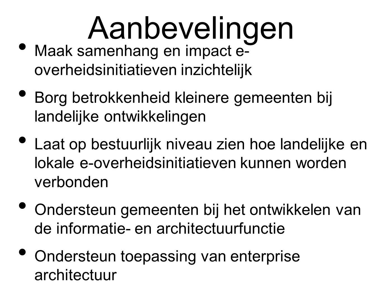 Aanbevelingen Maak samenhang en impact e- overheidsinitiatieven inzichtelijk Borg betrokkenheid kleinere gemeenten bij landelijke ontwikkelingen Laat op bestuurlijk niveau zien hoe landelijke en lokale e-overheidsinitiatieven kunnen worden verbonden Ondersteun gemeenten bij het ontwikkelen van de informatie- en architectuurfunctie Ondersteun toepassing van enterprise architectuur