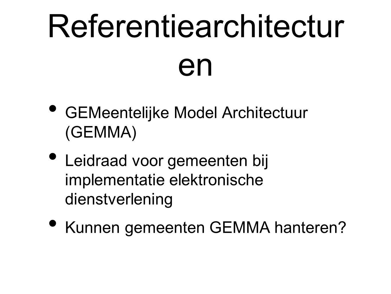 Referentiearchitectur en GEMeentelijke Model Architectuur (GEMMA) Leidraad voor gemeenten bij implementatie elektronische dienstverlening Kunnen gemeenten GEMMA hanteren?