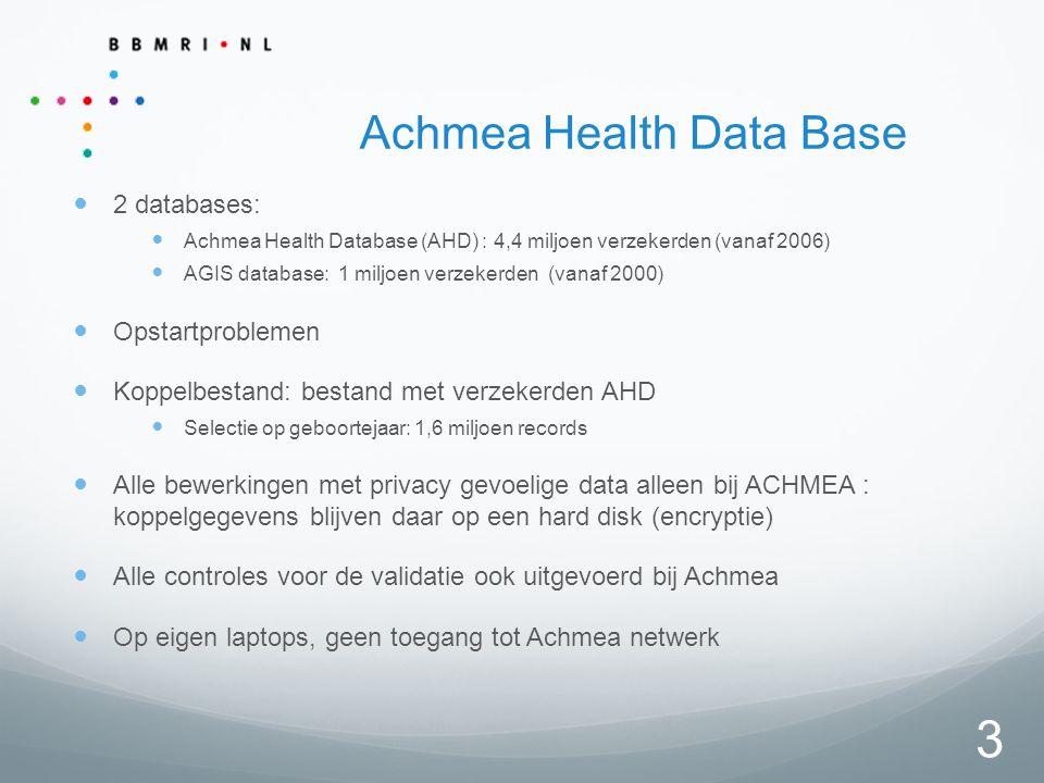 3 Achmea Health Data Base 2 databases: Achmea Health Database (AHD) : 4,4 miljoen verzekerden (vanaf 2006) AGIS database: 1 miljoen verzekerden (vanaf 2000) Opstartproblemen Koppelbestand: bestand met verzekerden AHD Selectie op geboortejaar: 1,6 miljoen records Alle bewerkingen met privacy gevoelige data alleen bij ACHMEA : koppelgegevens blijven daar op een hard disk (encryptie) Alle controles voor de validatie ook uitgevoerd bij Achmea Op eigen laptops, geen toegang tot Achmea netwerk