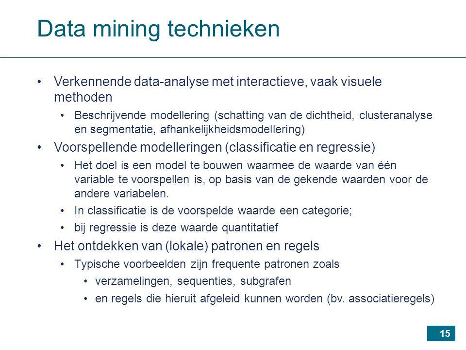 15 Data mining technieken Verkennende data-analyse met interactieve, vaak visuele methoden Beschrijvende modellering (schatting van de dichtheid, clusteranalyse en segmentatie, afhankelijkheidsmodellering) Voorspellende modelleringen (classificatie en regressie) Het doel is een model te bouwen waarmee de waarde van één variable te voorspellen is, op basis van de gekende waarden voor de andere variabelen.