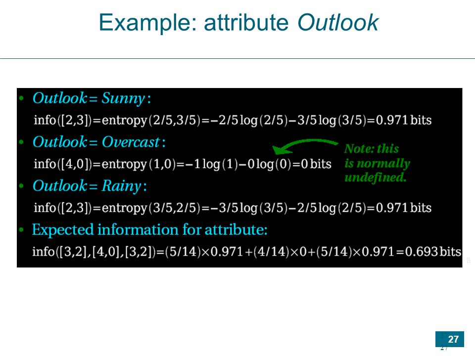 27 Example: attribute Outlook