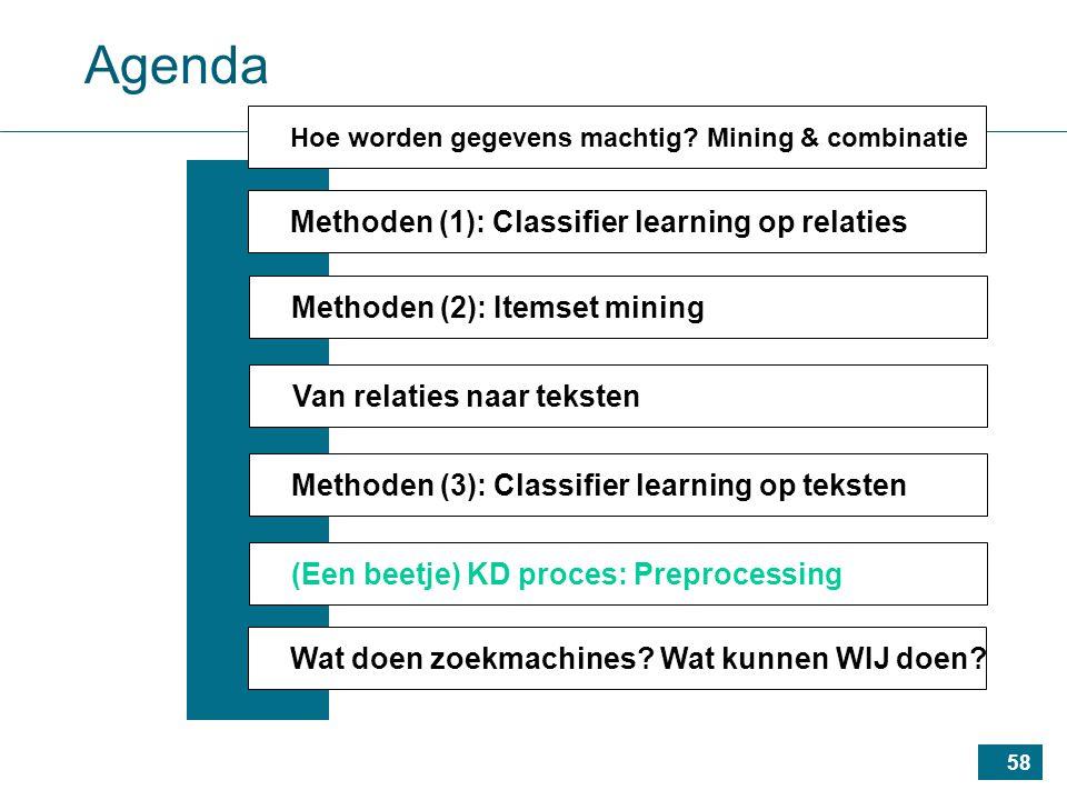 58 Agenda Methoden (1): Classifier learning op relaties Methoden (2): Itemset mining Van relaties naar teksten Methoden (3): Classifier learning op teksten (Een beetje) KD proces: Preprocessing Wat doen zoekmachines.