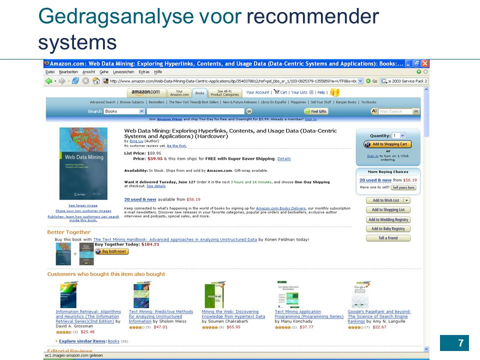 7 Gedragsanalyse voor recommender systems
