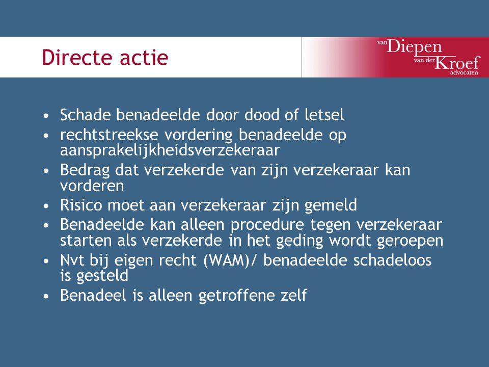 Directe actie Schade benadeelde door dood of letsel rechtstreekse vordering benadeelde op aansprakelijkheidsverzekeraar Bedrag dat verzekerde van zijn