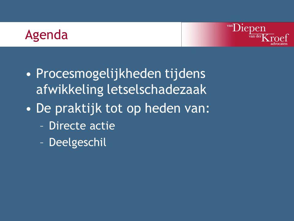 Agenda Procesmogelijkheden tijdens afwikkeling letselschadezaak De praktijk tot op heden van: –Directe actie –Deelgeschil