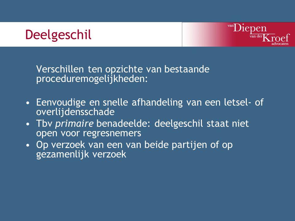 Deelgeschil Verschillen ten opzichte van bestaande proceduremogelijkheden: Eenvoudige en snelle afhandeling van een letsel- of overlijdensschade Tbv p