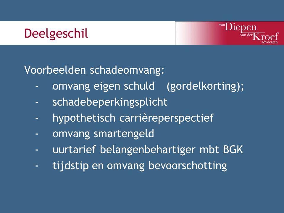 Deelgeschil Voorbeelden schadeomvang: -omvang eigen schuld (gordelkorting); -schadebeperkingsplicht -hypothetisch carrièreperspectief -omvang smarteng
