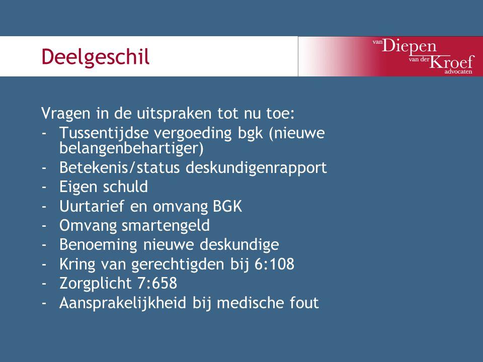 Deelgeschil Vragen in de uitspraken tot nu toe: -Tussentijdse vergoeding bgk (nieuwe belangenbehartiger) -Betekenis/status deskundigenrapport -Eigen s