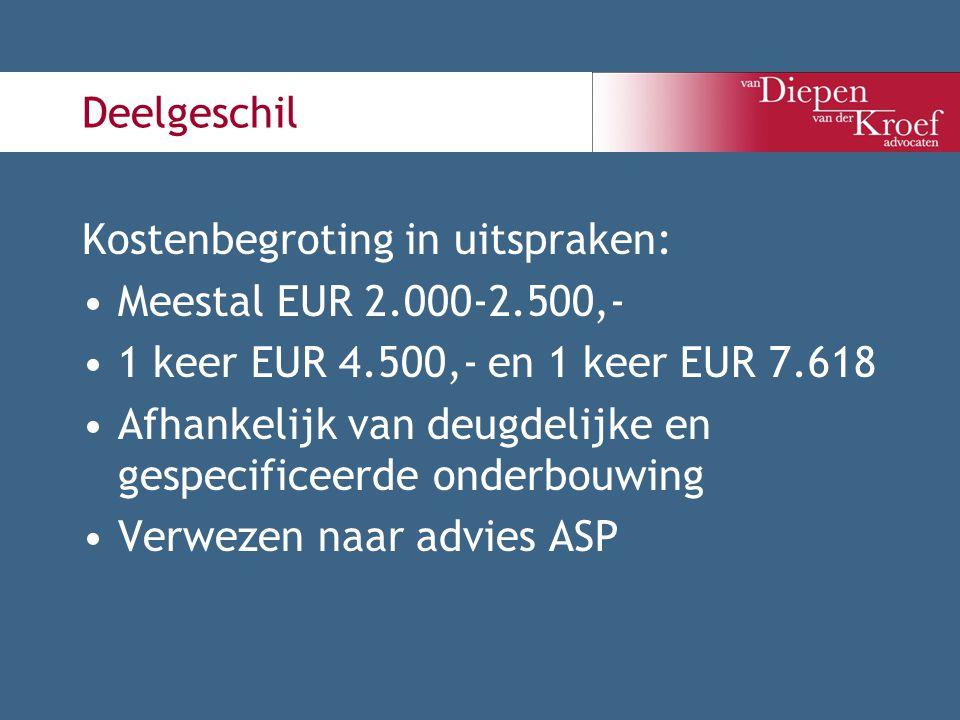 Deelgeschil Kostenbegroting in uitspraken: Meestal EUR 2.000-2.500,- 1 keer EUR 4.500,- en 1 keer EUR 7.618 Afhankelijk van deugdelijke en gespecifice