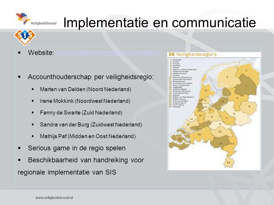 5 Implementatie en communicatie  Website: www.snellerinformatieslachtoffer.nlwww.snellerinformatieslachtoffer.nl  Accounthouderschap per veiligheidsregio:  Marten van Delden (Noord Nederland)  Irene Mokkink (Noordwest Nederland)  Fanny de Swarte (Zuid Nederland)  Sandra van der Burg (Zuidwest Nederland)  Mathijs Paf (Midden en Oost Nederland)  Serious game in de regio spelen  Beschikbaarheid van handreiking voor regionale implementatie van SIS