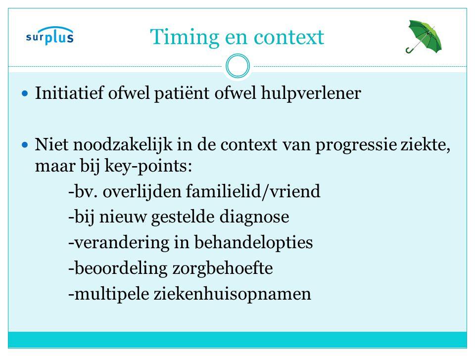 Timing en context Initiatief ofwel patiënt ofwel hulpverlener Niet noodzakelijk in de context van progressie ziekte, maar bij key-points: -bv.