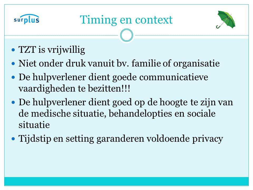 Timing en context TZT is vrijwillig Niet onder druk vanuit bv.