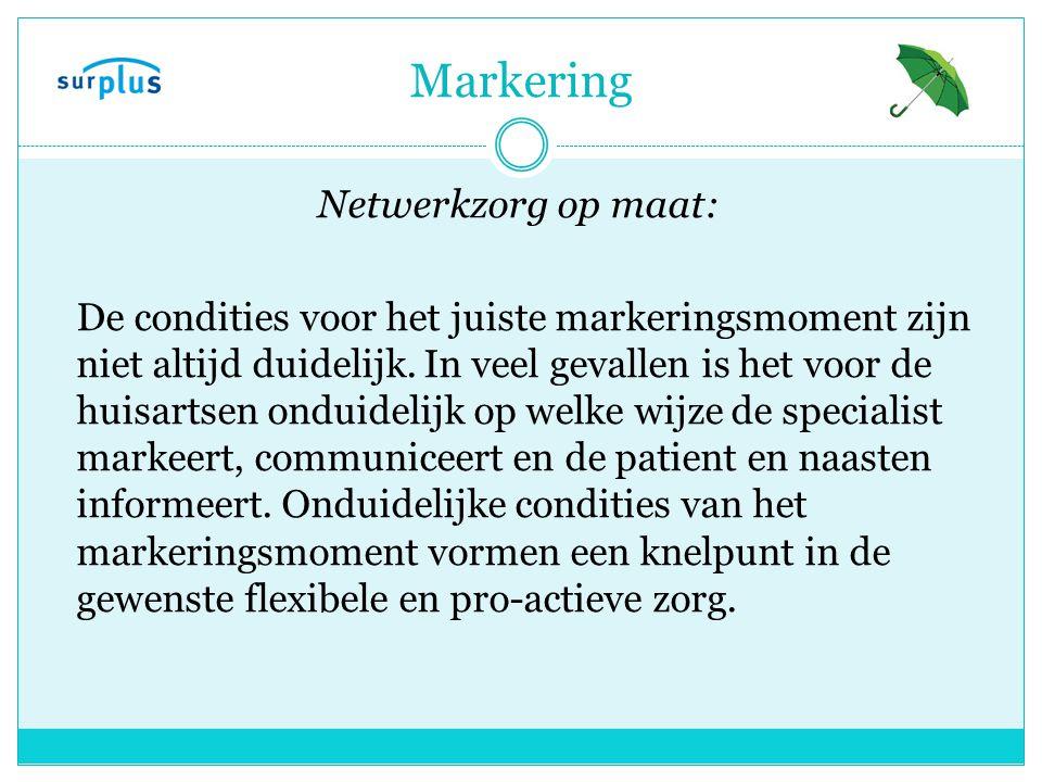 Markering Netwerkzorg op maat: De condities voor het juiste markeringsmoment zijn niet altijd duidelijk.