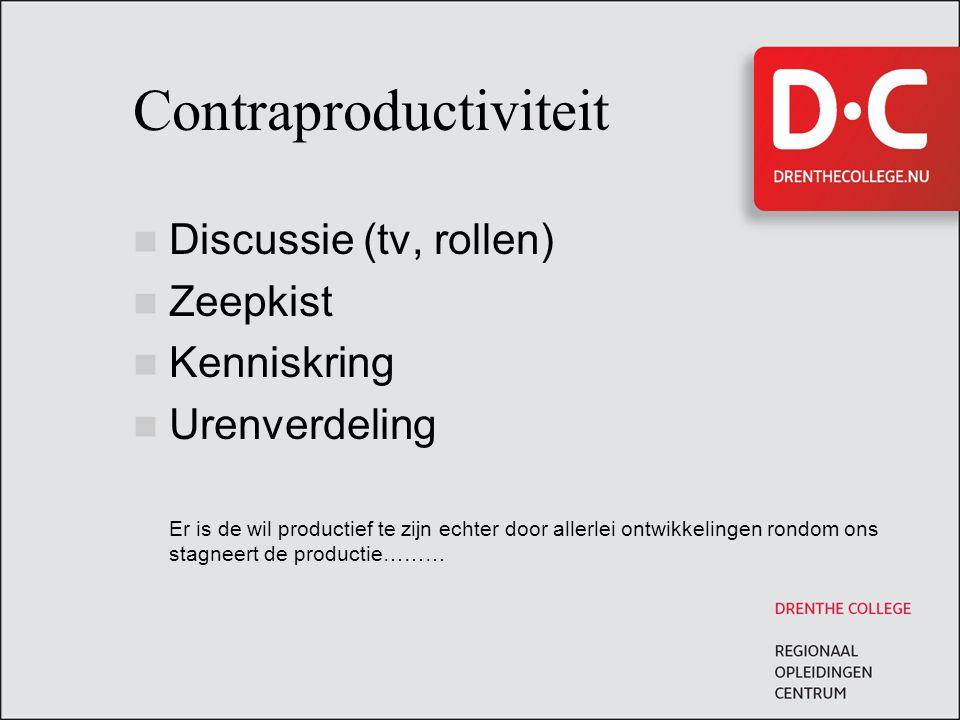 Contraproductiviteit Discussie (tv, rollen) Zeepkist Kenniskring Urenverdeling Er is de wil productief te zijn echter door allerlei ontwikkelingen ron