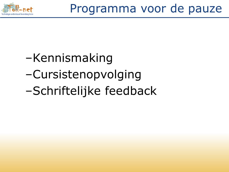 Programma na de pauze in computerlokaal –Audio-feedback met audacity –Peer-feedback met VoiceThread