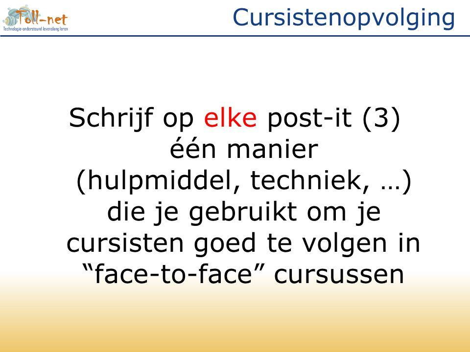 Cursistenopvolging Schrijf op elke post-it (3) één manier (hulpmiddel, techniek, …) die je gebruikt om je cursisten goed te volgen in face-to-face cursussen