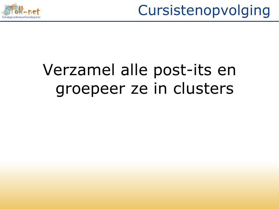 Cursistenopvolging Verzamel alle post-its en groepeer ze in clusters