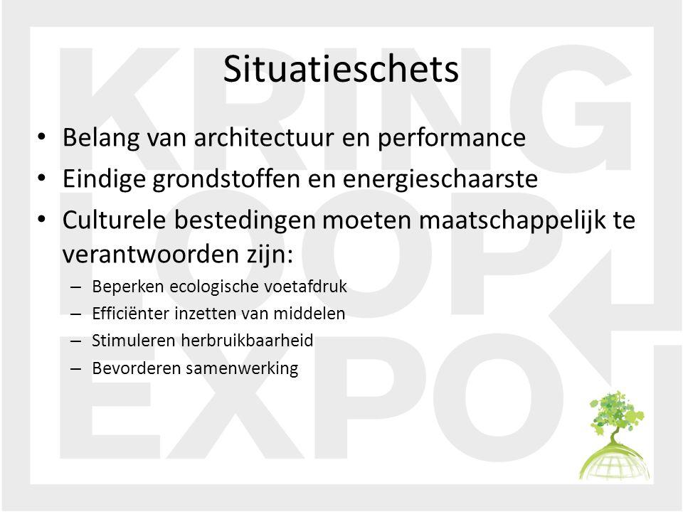 Situatieschets Belang van architectuur en performance Eindige grondstoffen en energieschaarste Culturele bestedingen moeten maatschappelijk te verantwoorden zijn: – Beperken ecologische voetafdruk – Efficiënter inzetten van middelen – Stimuleren herbruikbaarheid – Bevorderen samenwerking