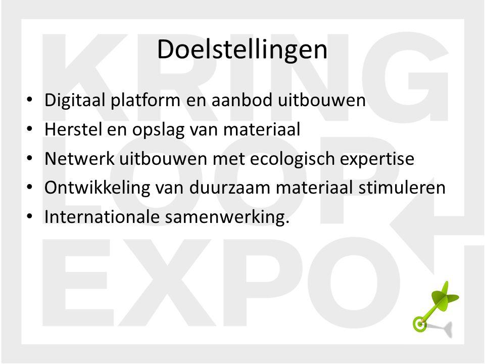 Digitaal platform en aanbod uitbouwen Herstel en opslag van materiaal Netwerk uitbouwen met ecologisch expertise Ontwikkeling van duurzaam materiaal stimuleren Internationale samenwerking.