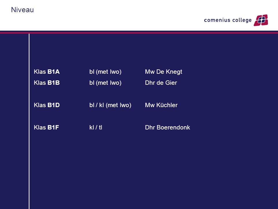 Niveau Klas B1Abl (met lwo)Mw De Knegt Klas B1Bbl (met lwo)Dhr de Gier Klas B1Dbl / kl (met lwo)Mw Küchler Klas B1Fkl / tlDhr Boerendonk