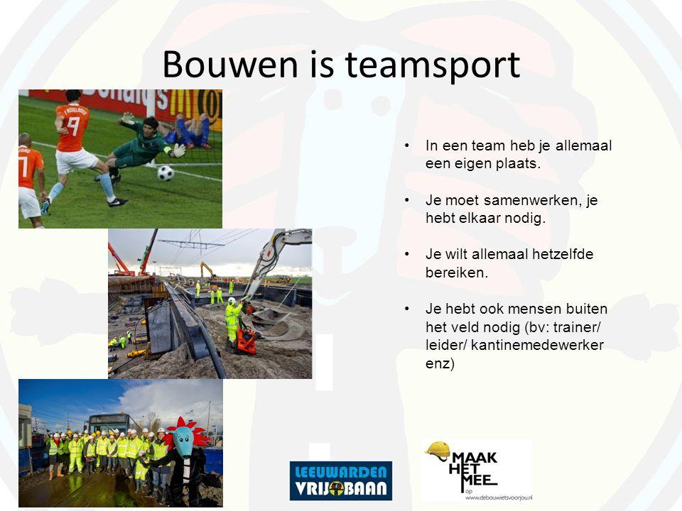 Bouwen is teamsport In een team heb je allemaal een eigen plaats. Je moet samenwerken, je hebt elkaar nodig. Je wilt allemaal hetzelfde bereiken. Je h