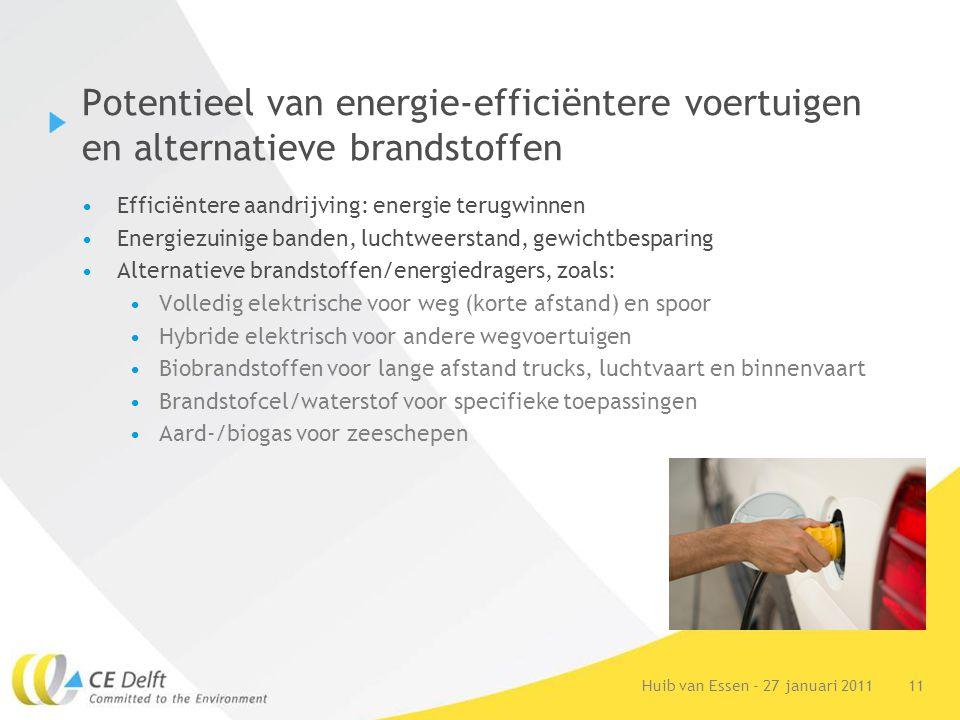 11Huib van Essen - 27 januari 2011 Potentieel van energie-efficiëntere voertuigen en alternatieve brandstoffen Efficiëntere aandrijving: energie terug
