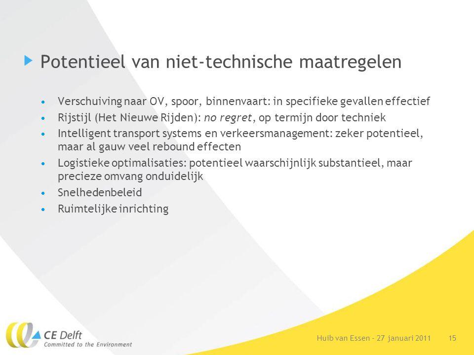 15Huib van Essen - 27 januari 2011 Potentieel van niet-technische maatregelen Verschuiving naar OV, spoor, binnenvaart: in specifieke gevallen effecti