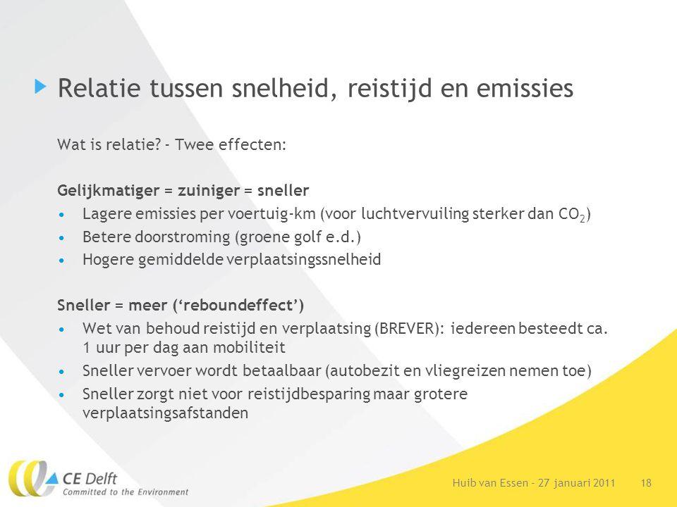 18Huib van Essen - 27 januari 2011 Relatie tussen snelheid, reistijd en emissies Wat is relatie.