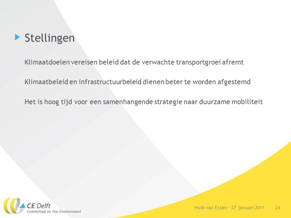 24Huib van Essen - 27 januari 2011 Stellingen Klimaatdoelen vereisen beleid dat de verwachte transportgroei afremt Klimaatbeleid en infrastructuurbeleid dienen beter te worden afgestemd Het is hoog tijd voor een samenhangende strategie naar duurzame mobiliteit