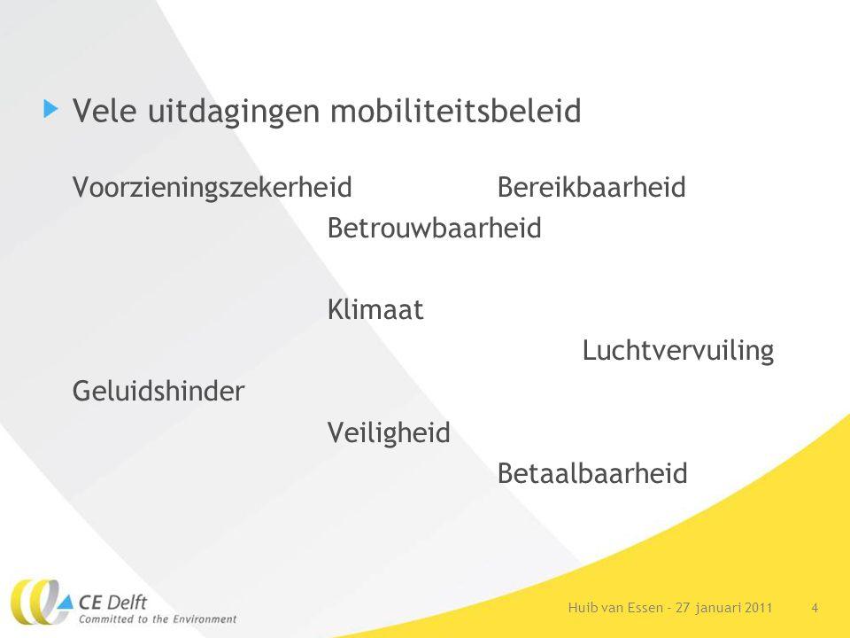 4Huib van Essen - 27 januari 2011 Vele uitdagingen mobiliteitsbeleid Voorzieningszekerheid Bereikbaarheid Betrouwbaarheid Klimaat Luchtvervuiling Gelu
