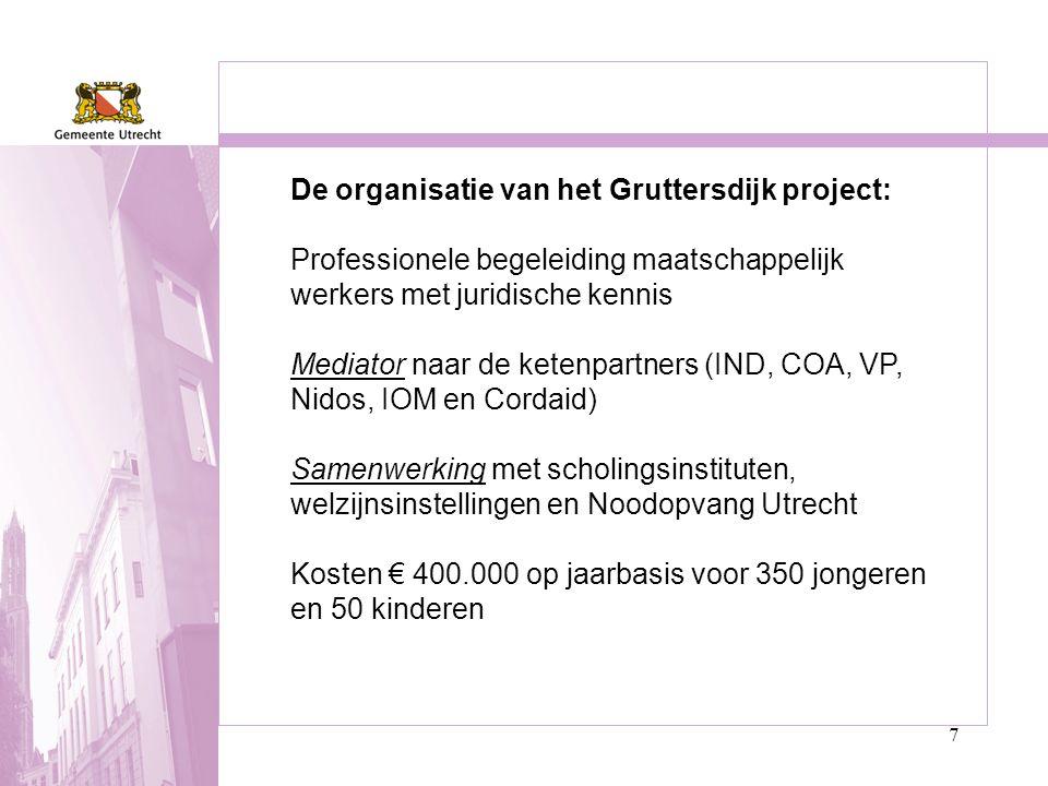 7 De organisatie van het Gruttersdijk project: Professionele begeleiding maatschappelijk werkers met juridische kennis Mediator naar de ketenpartners