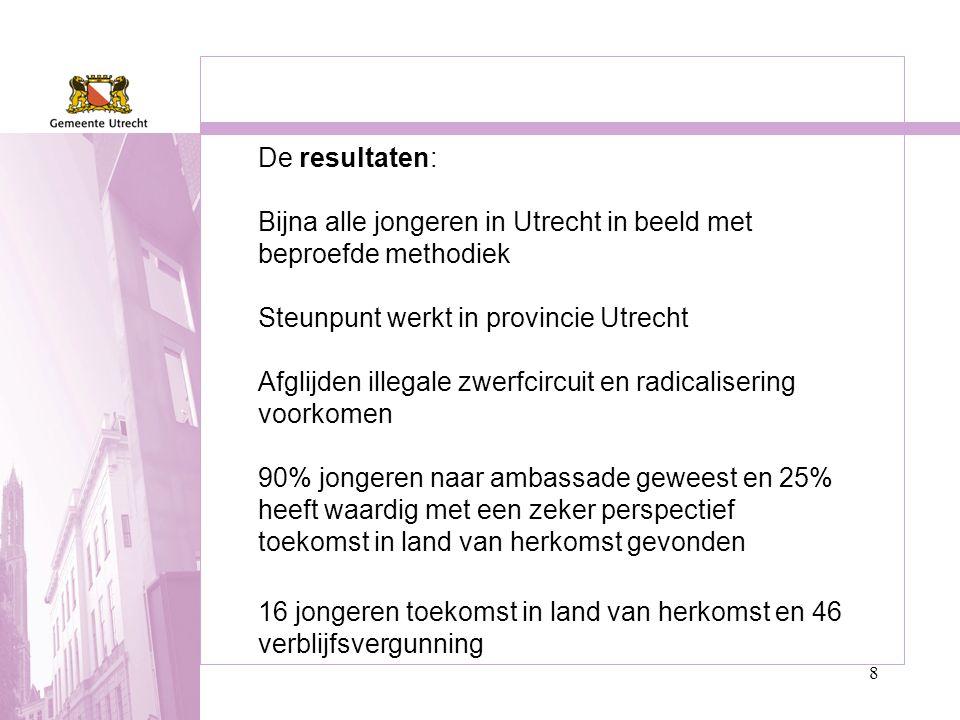 8 De resultaten: Bijna alle jongeren in Utrecht in beeld met beproefde methodiek Steunpunt werkt in provincie Utrecht Afglijden illegale zwerfcircuit