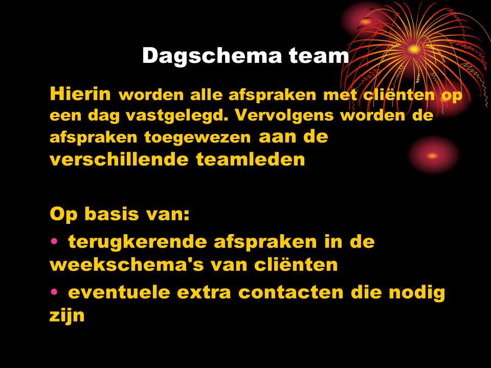 Dagschema team Hierin worden alle afspraken met cliënten op een dag vastgelegd.