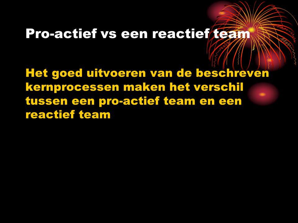 Pro-actief vs een reactief team Het goed uitvoeren van de beschreven kernprocessen maken het verschil tussen een pro-actief team en een reactief team