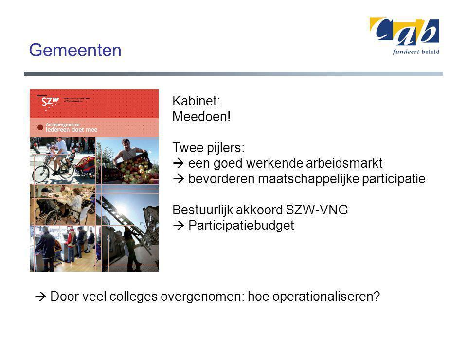 Gemeenten Kabinet: Meedoen! Twee pijlers:  een goed werkende arbeidsmarkt  bevorderen maatschappelijke participatie Bestuurlijk akkoord SZW-VNG  Pa