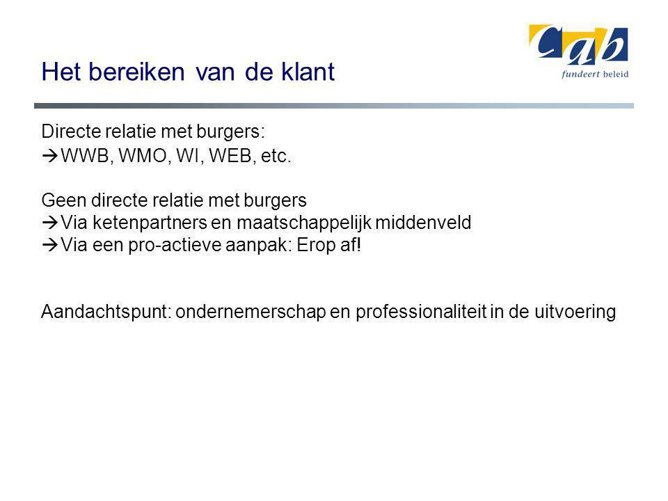 Het bereiken van de klant Directe relatie met burgers:  WWB, WMO, WI, WEB, etc. Geen directe relatie met burgers  Via ketenpartners en maatschappeli