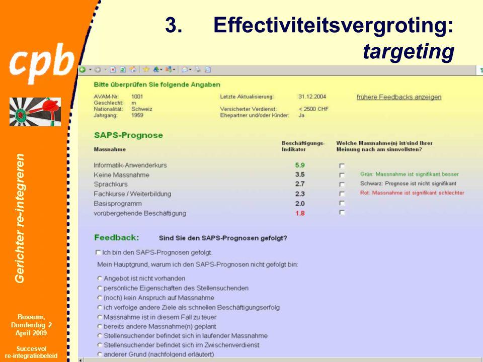 Gerichter re-integreren Bussum, Donderdag 2 April 2009 Succesvol re-integratiebeleid 3.Effectiviteitsvergroting: targeting