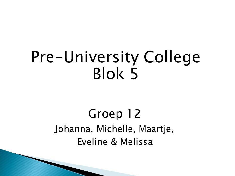 Pre-University College Blok 5 Groep 12 Johanna, Michelle, Maartje, Eveline & Melissa