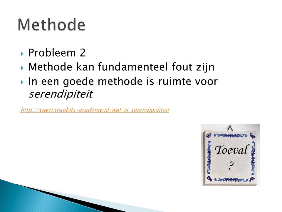  Probleem 2  Methode kan fundamenteel fout zijn  In een goede methode is ruimte voor serendipiteit http://www.wisebits-academy.nl/wat_is_serendipiditeit