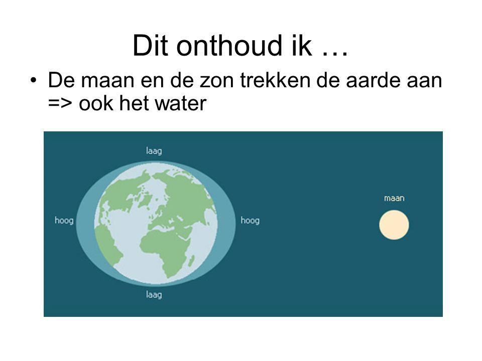 Waar aantrekkingskracht het grootst is = vloed (hoogwater) Waar aantrekkingskracht het kleinst is = eb (laagwater) Aarde draait om as = afwisseling tussen eb en vloed Eb en vloed = getijden