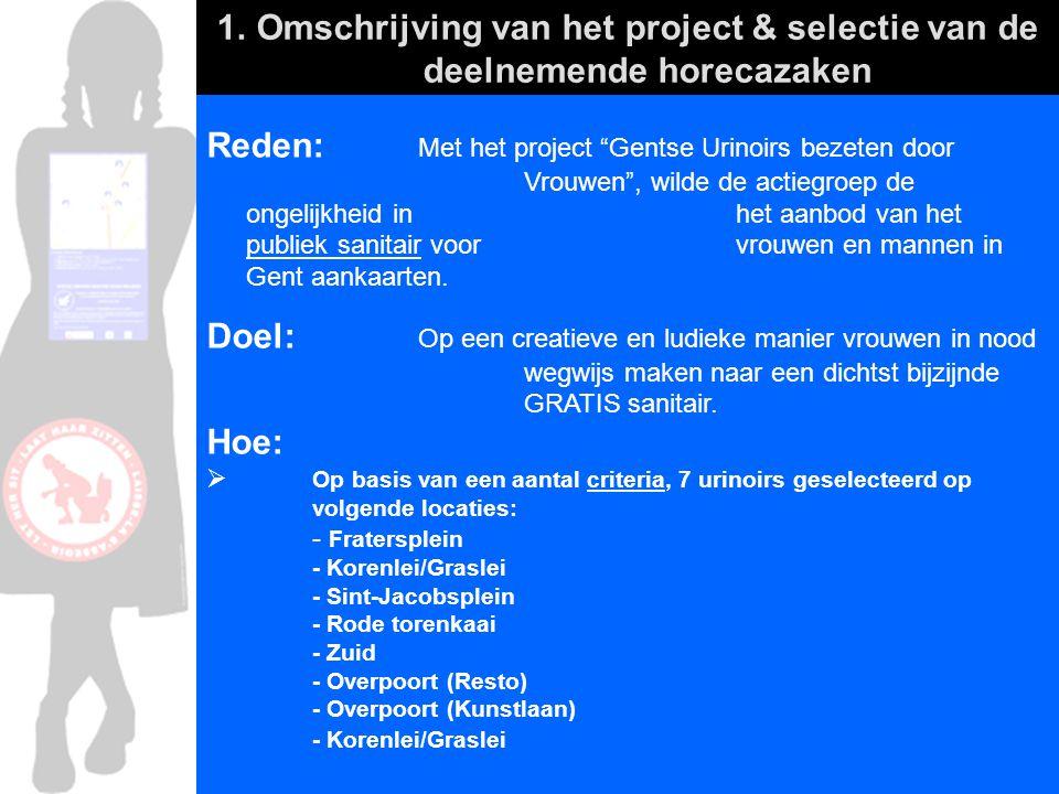 """Reden: Met het project """"Gentse Urinoirs bezeten door Vrouwen"""", wilde de actiegroep de ongelijkheid in het aanbod van het publiek sanitair voor vrouwen"""