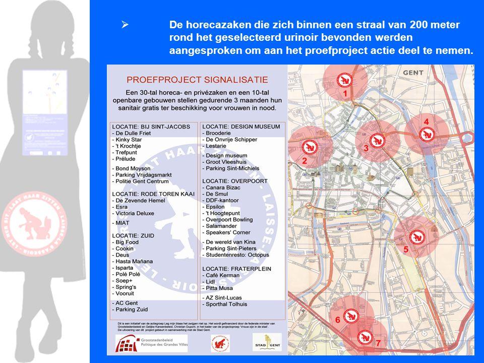 De redenen die de weigeraars opgaven verschillen van plaszone tot plaszone: - Vandalisme (Overpoort) - Door gebrek aan publiek toilet in de beurt => overdaad (Rode Torenkaai) - Storen van de sfeer (Zuid) - Beperkingen van de sanitaire voorzieningen binnen de horeca's (Korenlei/Graslei) => boottoeristen  leeg verval  terras horeca – beperkt aantal toiletten  het sanitair in het Vleeshuis, Designmuseum en in Sint-Michiels Parking is niet aangeduid => bijna onbekend  met mooi weer mensen met eigendrank => nachtwinkels bieden geen toilet aan
