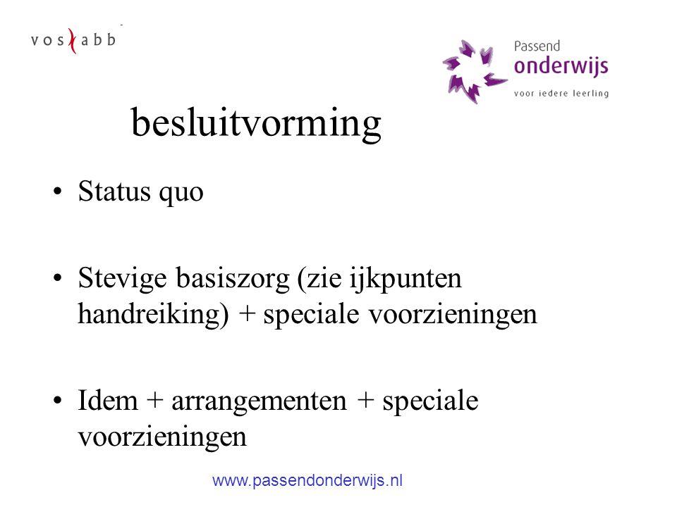 besluitvorming Status quo Stevige basiszorg (zie ijkpunten handreiking) + speciale voorzieningen Idem + arrangementen + speciale voorzieningen www.passendonderwijs.nl