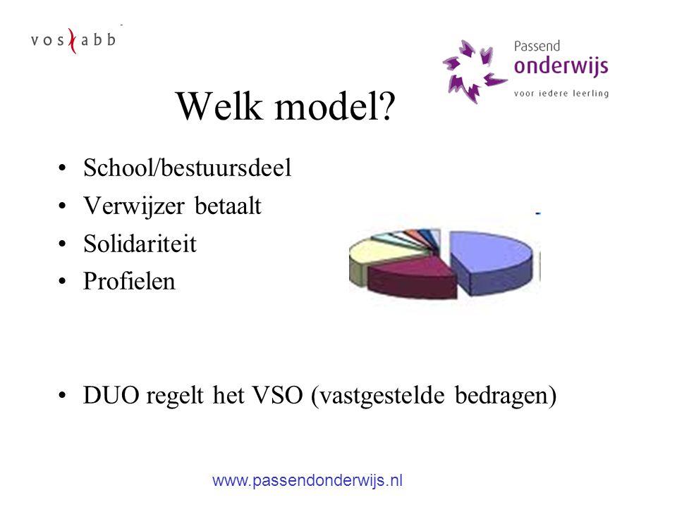 Welk model? School/bestuursdeel Verwijzer betaalt Solidariteit Profielen DUO regelt het VSO (vastgestelde bedragen) www.passendonderwijs.nl